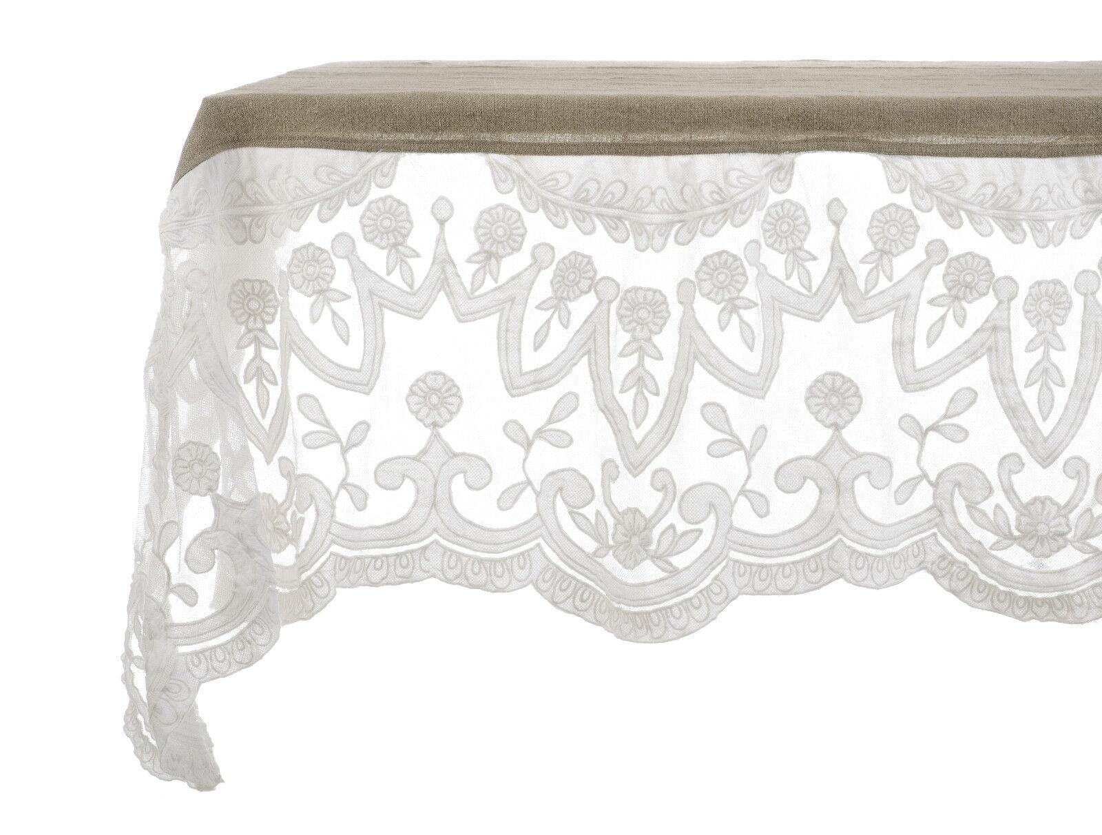 Details zu Blanc Mariclo Tischdecke 180x300cm 100% Leinen bestickt Volant  shabby chic