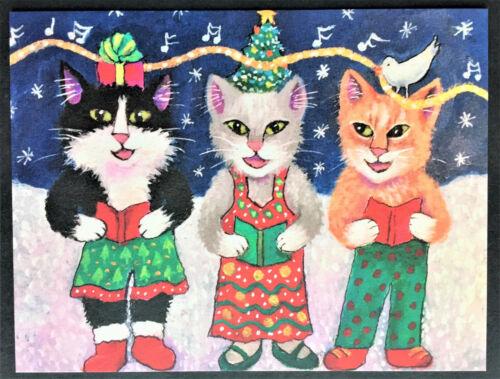 Cat Blank Note Card ONE New Xmas Postcard Post Card Tuxedo Gray Orange Cards Art