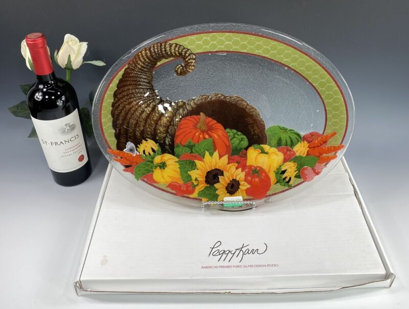 "Peggy Karr Art Glass Platter 17.5"" Thanksgiving Cornucopia signed W/Box"