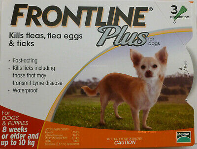 Frontline Plus 3 Pack 3 Months Supply For Dogs 0-22lbs 0-10KG Orange New