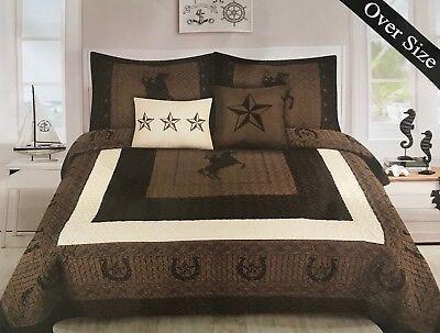 - Rustic Star Rodeo Riding Cowboy Horseshoe Quilt Bedding - 5 Piece Set