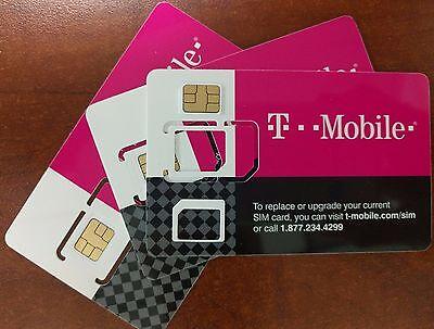 NEW T-Mobile 4G LTE Sim Card. Nano, Micro or Standard Tmobile 3IN1 TRIPLE CUT.