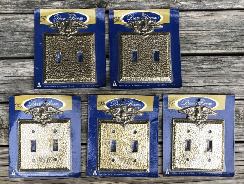 1 Vintage New Old Stock Double Light Switch Cover Plate Antique Brass Eagle Top