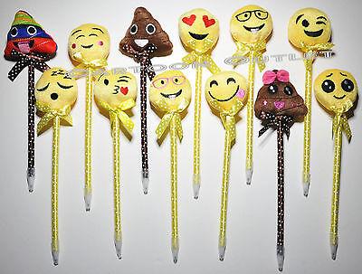 12 X EMOJI PENS PARTY FAVORS KIDS KEEPSAKE RAINBOW PLUSH MIX EMOTIONS RECUERDOS - Emoji Pens