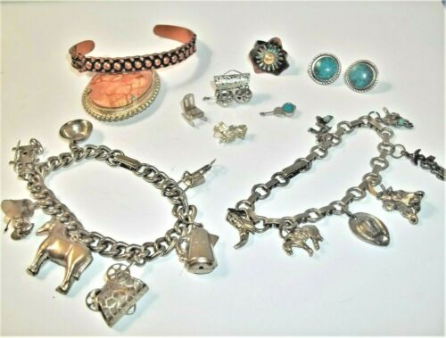 Vintage Southwestern Jewelry Lot Silver Tone Charm Bracelet Signed Copper Cuff