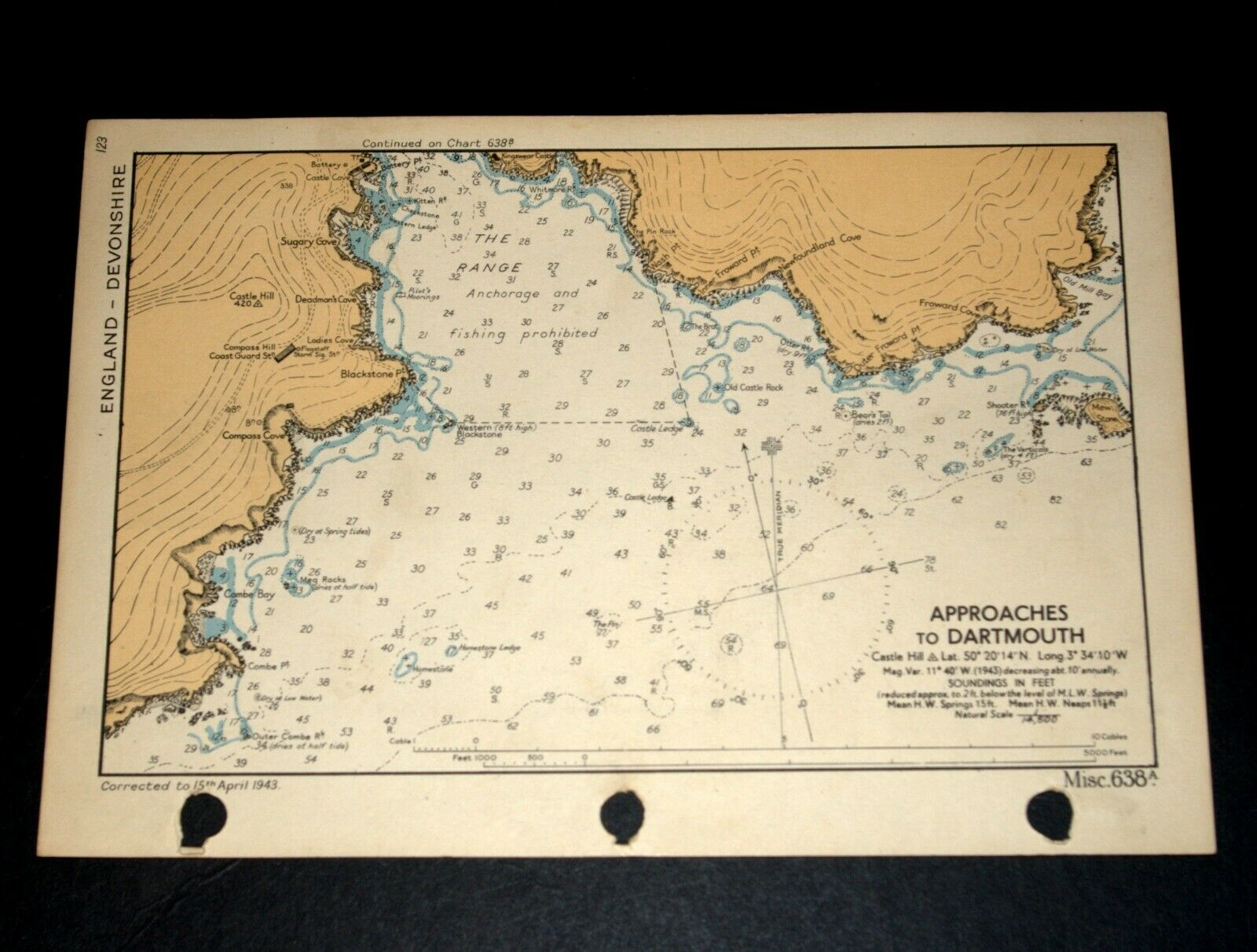 APPROACHES TO DARTMOUTH Devon  Vintage WW2 Naval Military Map 1943