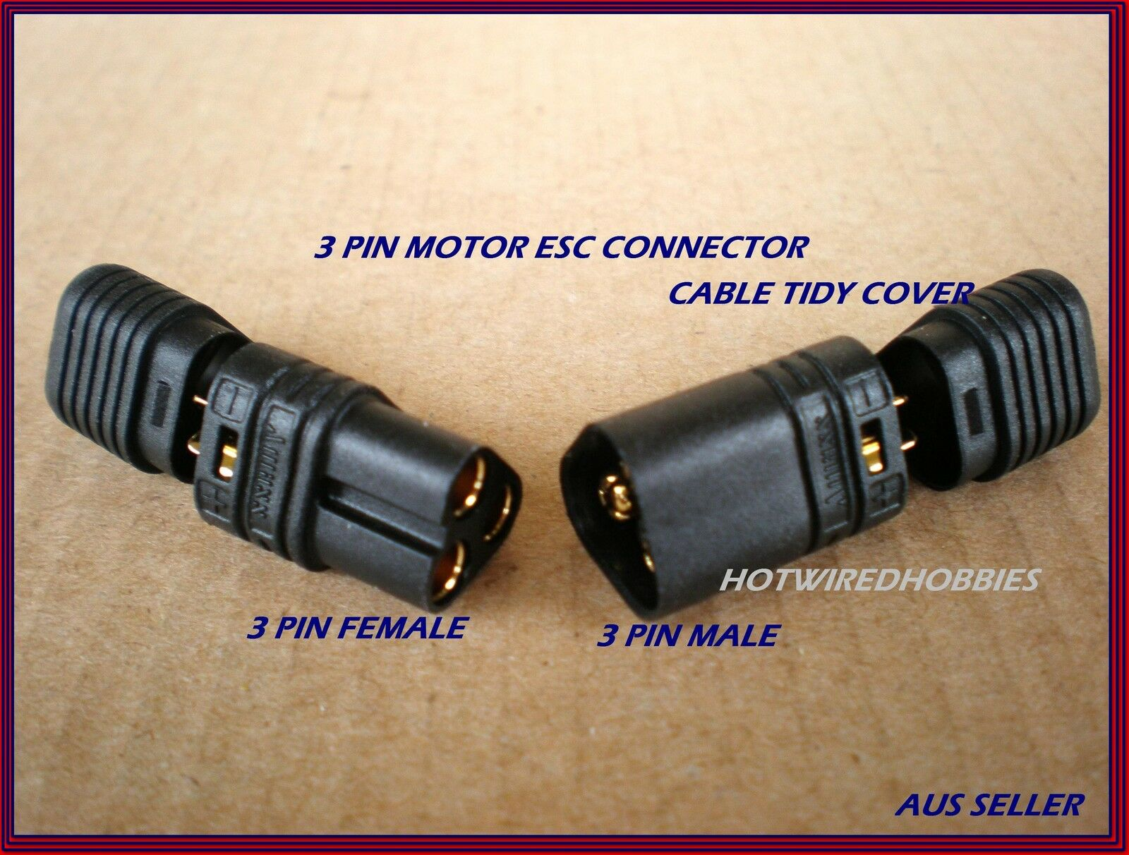 Mt60 3 Pin Motor Esc Connector In Black Traxxas Deans Xt60 Accucel 6 Electrical Plug Wiring Diagram Australia 1 X Male Female Wire Connectors For