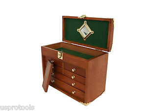 156 US Pro Tools Wooden Tool Box Tool Chest Wood Cabinet Engineer jewellery box