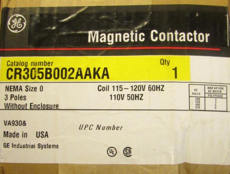 GENERAL ELECTRIC GE Size 0 Contactor 110/120V CR305B002AAKA