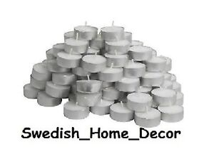 100 Ct Lot Tealights Tea Lights Unscented Wedding Party Candles White IKEA Bulk
