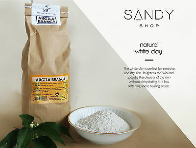 Pure Organic White Clay Kaolin  Fine Powder Face Mask – 1000g - 1 Kg - Fine White Clay