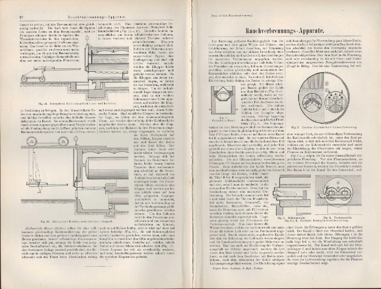 Druck / Lithografie 1896: Rauchgewinnungs-Apparate. Rauch Dampf-Kessel-Feuerung