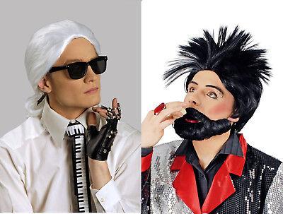 Herren Jungen Perücke HARALD KARL Bart schwarz weiß Kostüm Barock Modezar Punk