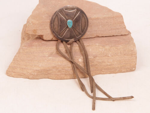 """Navajo Sterling Silver Pendant with Turquoise and Leather Strips 2"""""""