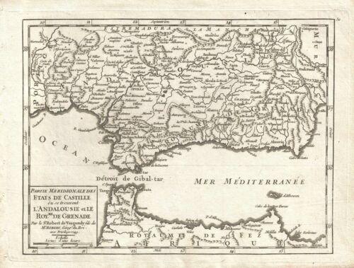 1749 Vaugondy Map of Andalousia and Grenada, Spain