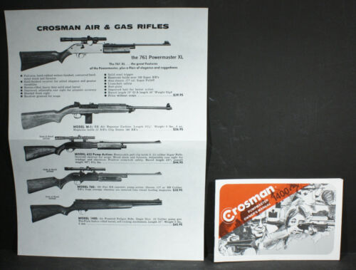 Crosman 1400 Pumpmaster 22 Pellet Rifle Uncirculated NOS Owners Manual &Ad Sheet