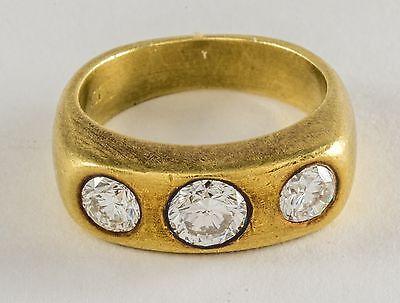 18K GOLD ART DECO THREE VS DIAMOND RING 3/4 CT.