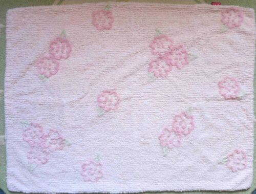 Amy Coe Pink Ribbed Chenille Roses Shabby Chic Baby Girl Crib Comforter Blanket