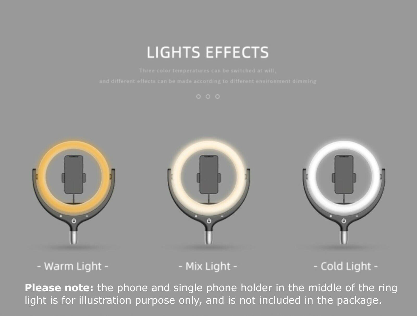 NEWAVE 6000K Polarless Dimmable Swivel 12'' LED Ring Light Mirrors ...