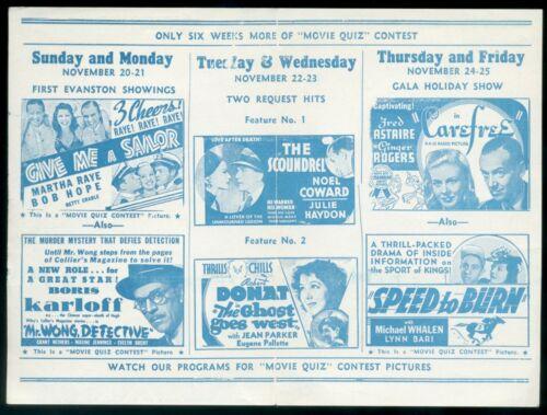 1938 VALENCIA THEATRE Movie Program Flyer Evanston - Karloff, Fred & Ginger