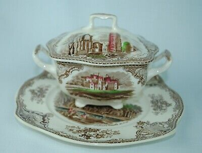 Johnson Bros Old Britain Castles Sugar Bowl, Lid, and Underplate  ()