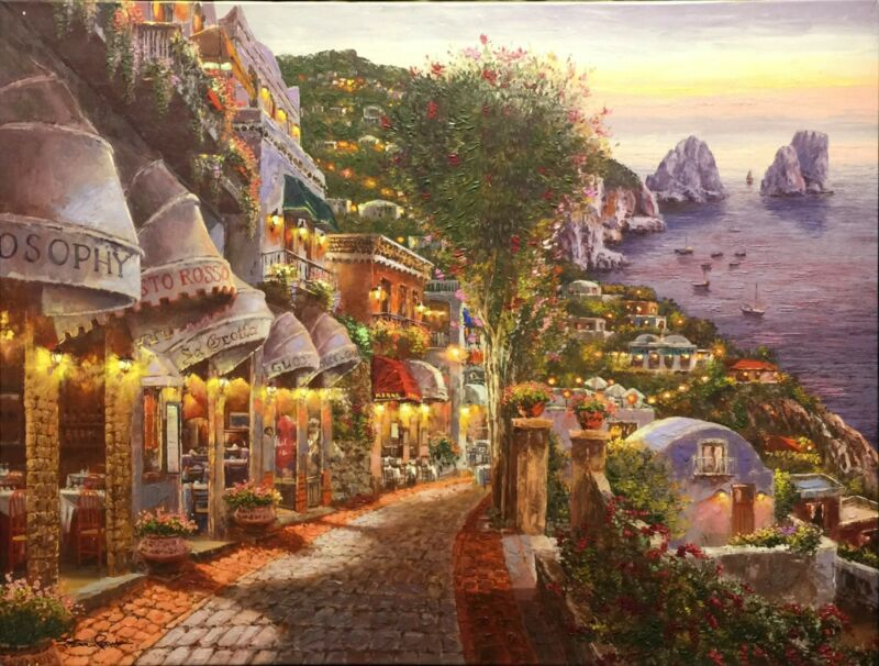 "Sam Park ""evening In Capri"" | Signed Embellished/canvas | 38 X 52"" | Stretched"