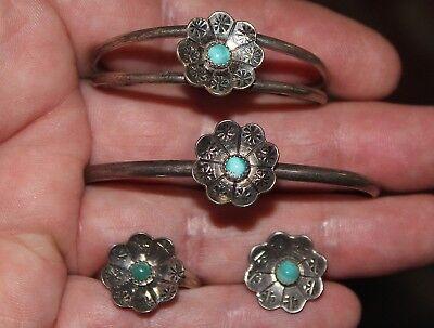 Navajo Sterling Silver PEYOTE FLOWER Adult & Child Bracelet & Ring & Pendant LOT