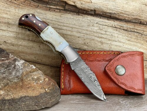 "Damascus Steel Folding Pocket Knife 6.5"" Stag Antler Handle With Leather Sheath"