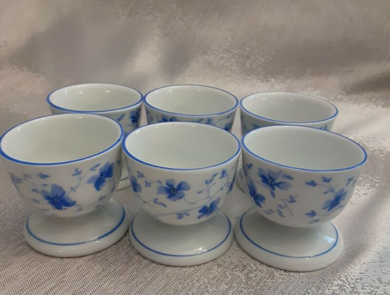 Arzberg Germany 6 Porcelain Blue Blossom Egg Cups