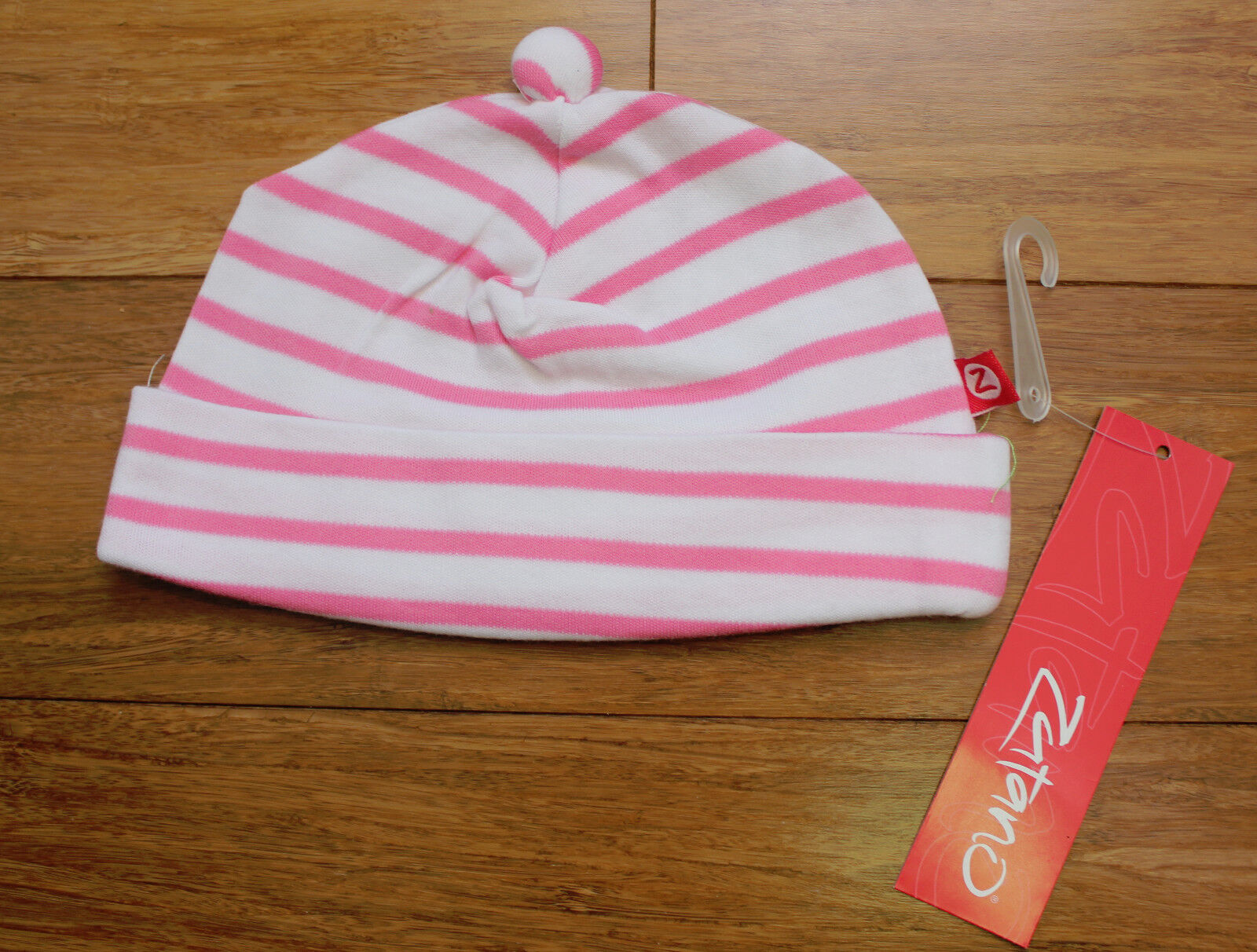 Zutano baby girl 100 % cotton hat Pink Stripe 12 months