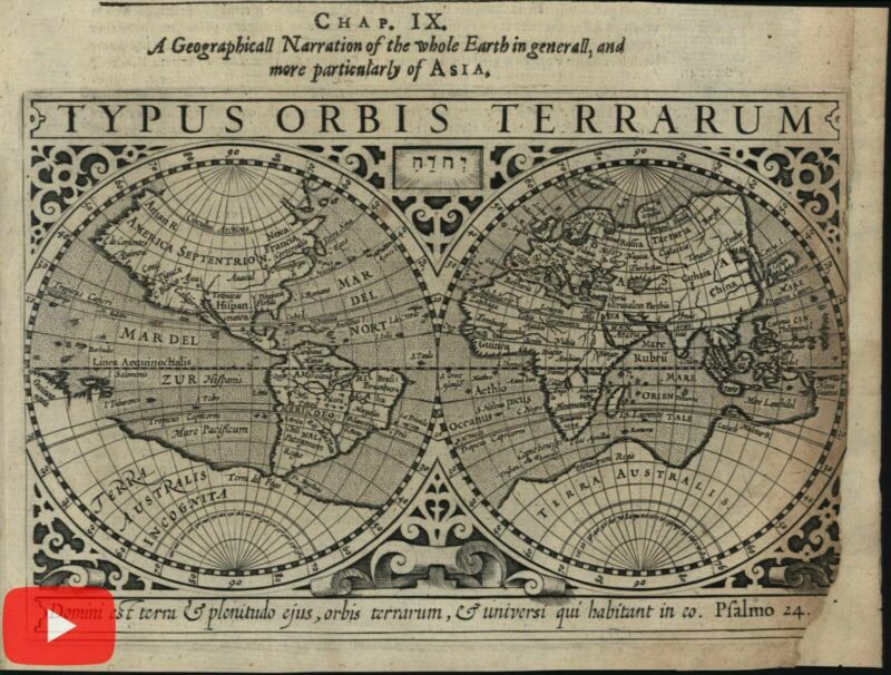 World 1607 double hemispheres 1626 Purchas Hondius scarce miniature map