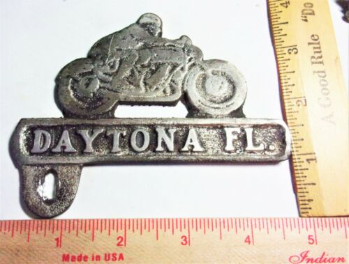 """vintage """"Daytona"""" license plate topper old motorcycle race collectible accessory"""