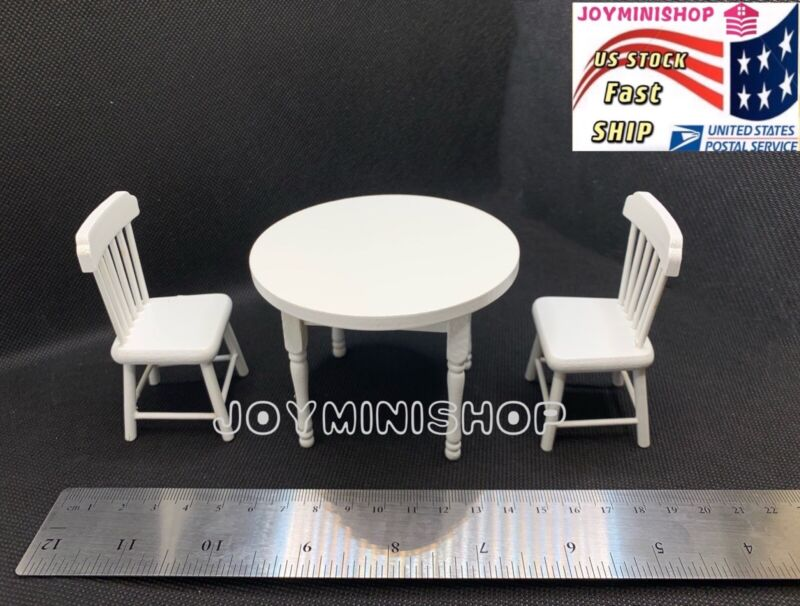 1/12 Miniature White 3pcs Dining Room Round Table Chair Set Dollhouse Furniture