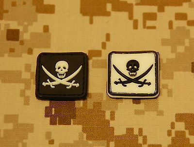 Calico Jacks Flag - 2 x Glow-In-The-Dark Calico Jack PVC Patches Jolly Roger Navy SEAL Pirate Flag