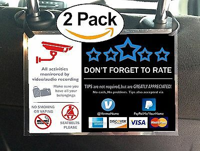 Cctv Uber Lyft Tips   5 Stars Rating Sign Car Headrest Display Cards