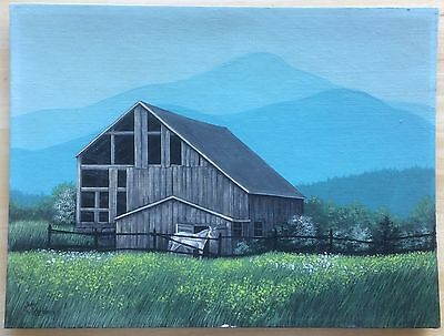 "1976 Jean Lehrbourg Signed Vermont White Horse & Barn Painting 16""x20"""