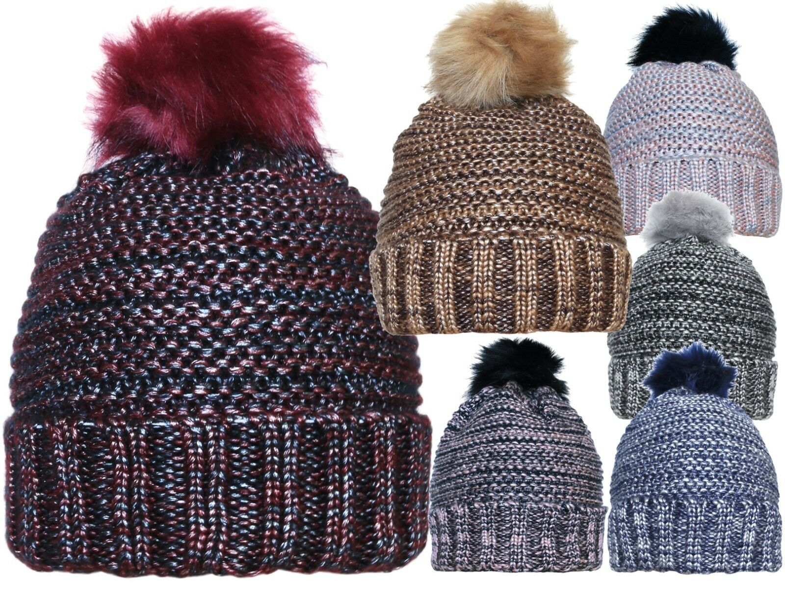 Metallic Look Faux Fur Pom Pom Winter Beanie Hat Clothing, Shoes & Accessories