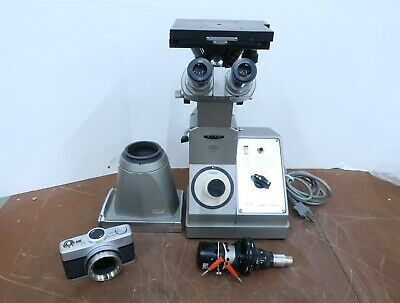 Vintage Olympus Mg Metallurgical Inverted Binocular Microscope Extras
