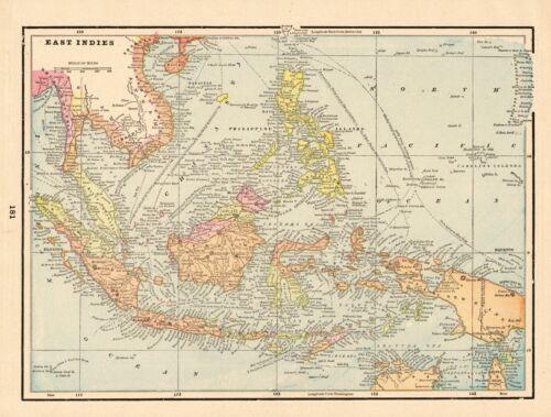 1895 Antique EAST INDIES Map Pacific Islands Map Philippines Borneo Map 8451