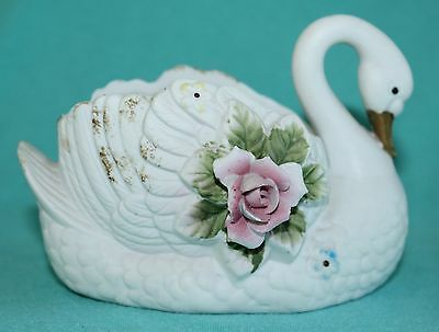 Vtg Bisque Swan Planter Applied Rose Flowers Pink Gold 5TW-148
