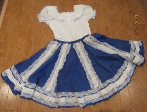 """Square Dance """"Square Up"""" Blue Full Circle Plus Skirt Size M -  White Blouse"""