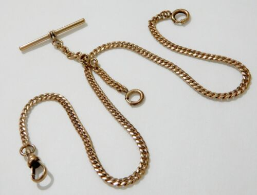 Antique Victorian Gold Filled Double Albert Curb Link Pocket Watch Fob Chain