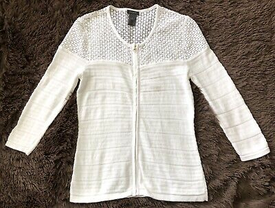 Ann Taylor White, Long Sleeve, Zip-Front, Lace Shoulder, Cotton/Nylon Cardigan-S