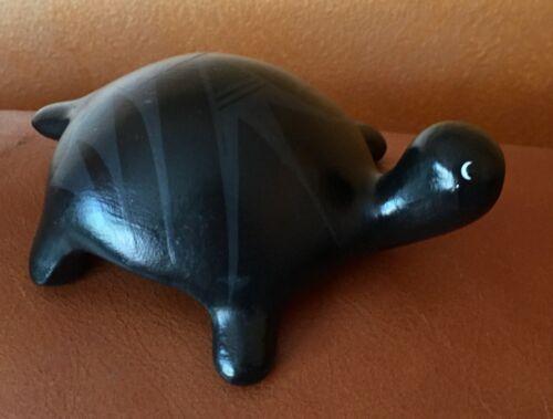 "Laguna Pueblo Black On Black Pottery Turtle Effigy 5"" Signed Corn Silk"