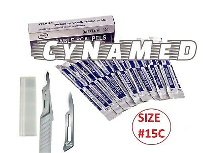 Disposable Scalpel Blades No.15c With Plastic Handle Box Of 10 Sterile