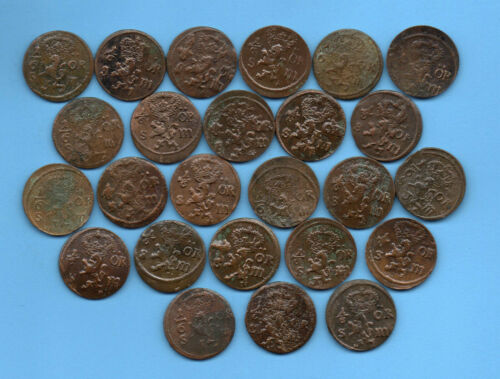 Sweden Ore 1/6 1666-71s Lot of 25 Copper coins 187
