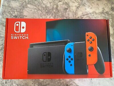 NEW Nintendo Switch V2 32GB CONSOLE W/ NEON BLUE & NEON RED JOY CON - IN HAND