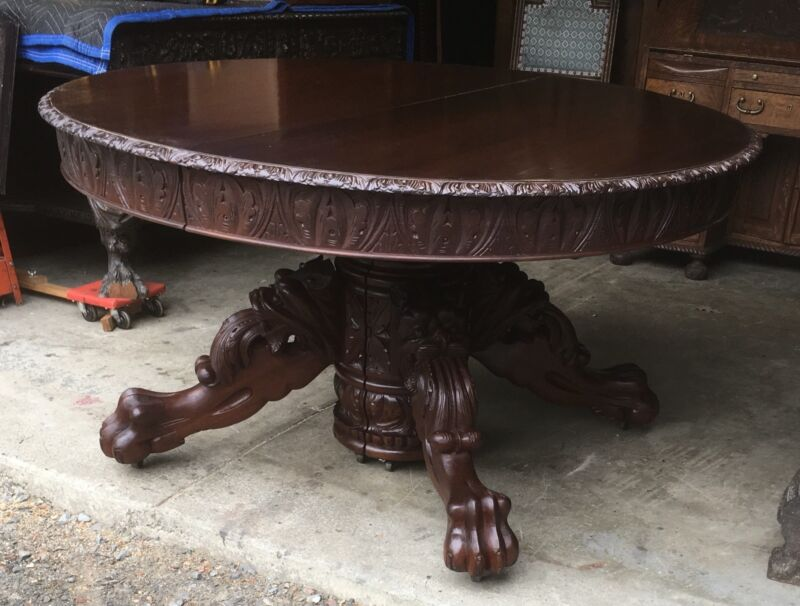 """54"""" CARVED GRIFFIN MAHOGANY DINING TABLE, WITH 3-11"""" LEAVES"""