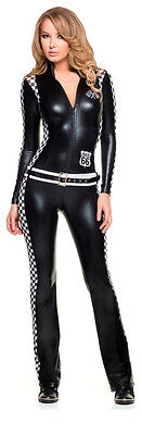 Sports Girl Halloween Costumes (Sexy Adult Halloween Mystery House Racer Girl Jumpsuit Uniform)