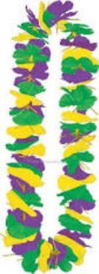 Mardi Gras Silk Flower Lei Purple Green Gold Party Supply Costume Decor     - Purple Leis